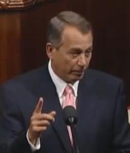 House Speaker John Boehner addresses the House of Representatives Sept. 30, 2013